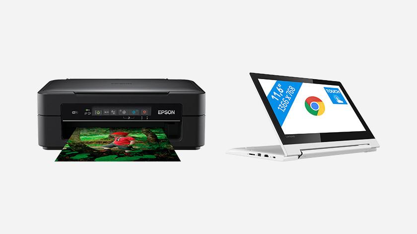 Een Epson printer naast een Lenovo Chromebook.