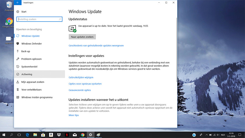 Fenêtre Windows Update dans Windows 10.