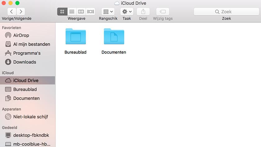 Bestanden naar iCloud Drive slepen