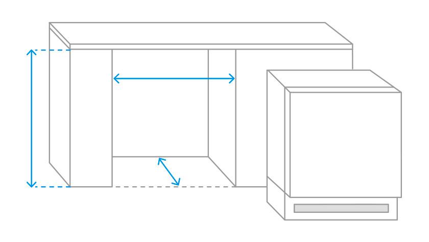 Important measurements for an under-counter fridge