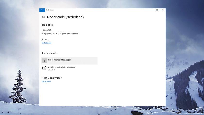 Het instellingen menu taal bij Windows.