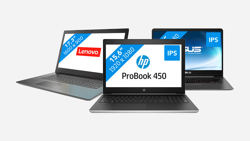 A Lenovo, HP, and Asus laptop.