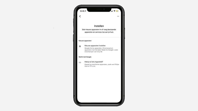 Nieuw apparaat in Google Home app