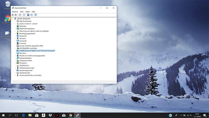 Onderdelen in Apparaatbeheer op een Windows 10 laptop.