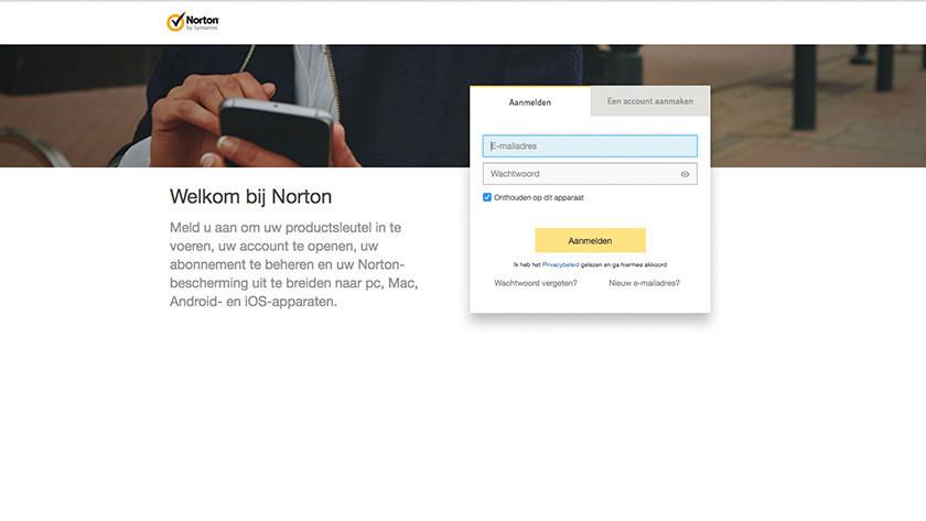 Aanmelden bij Norton