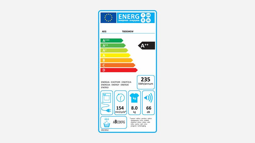 Energielabel AEG 8000 droogkast