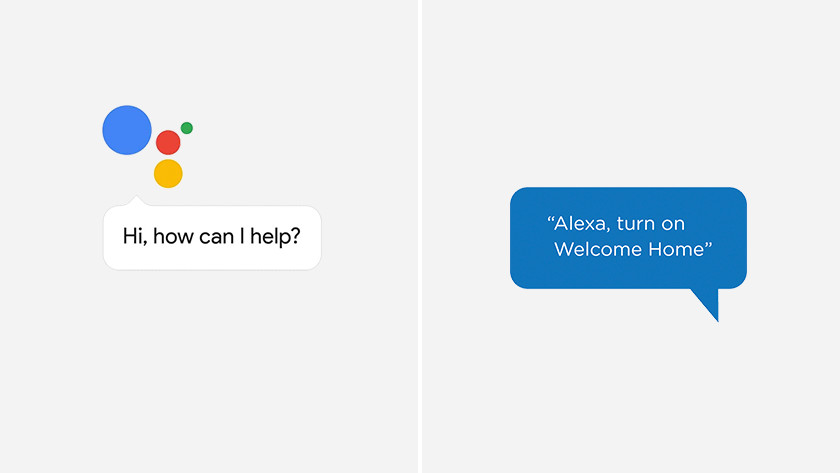 De spraakassistent van Google Assistent en Amazon Alexa