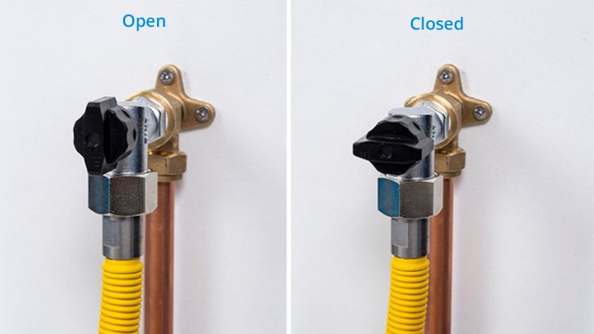 Robinet à gaz ouvert vs. fermé