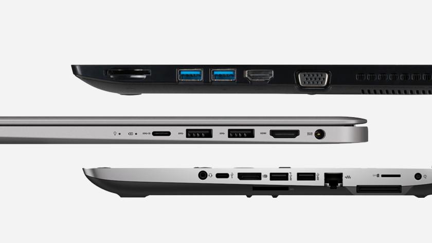 Aansluitingen drie laptops.