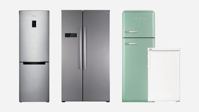 4 koelkasten op een rij