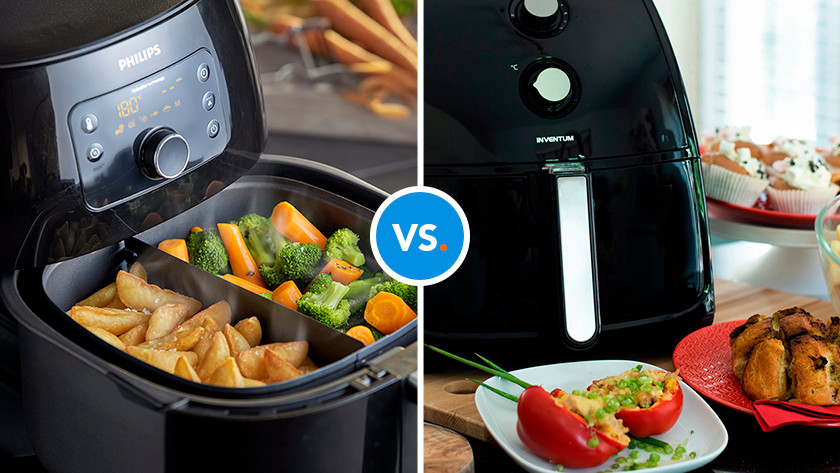 Airfryer with vegetables and fries
