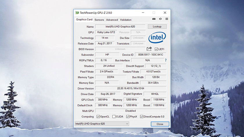 TechPowerUp GPU-Z sur Windows 10.