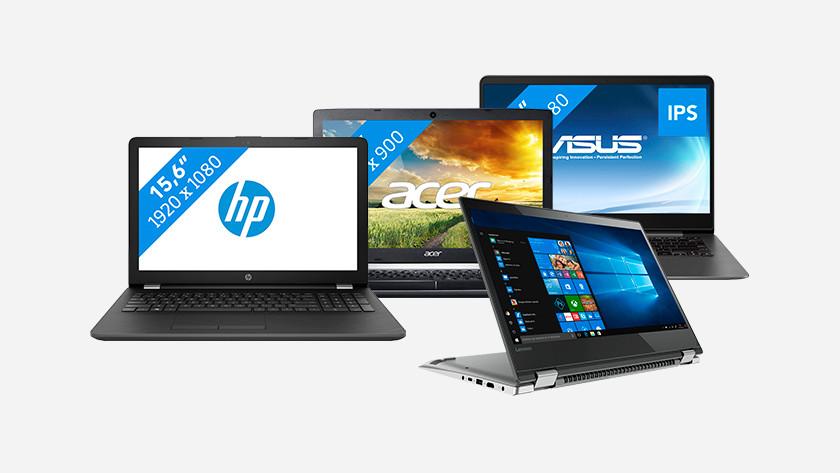 Vier verschillende laptops naast elkaar afgebeeld.