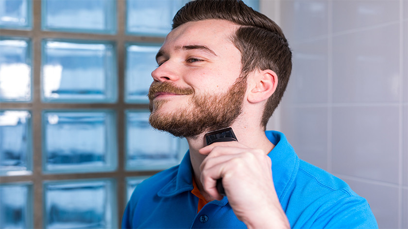 Shaving with a Philips electric shaver