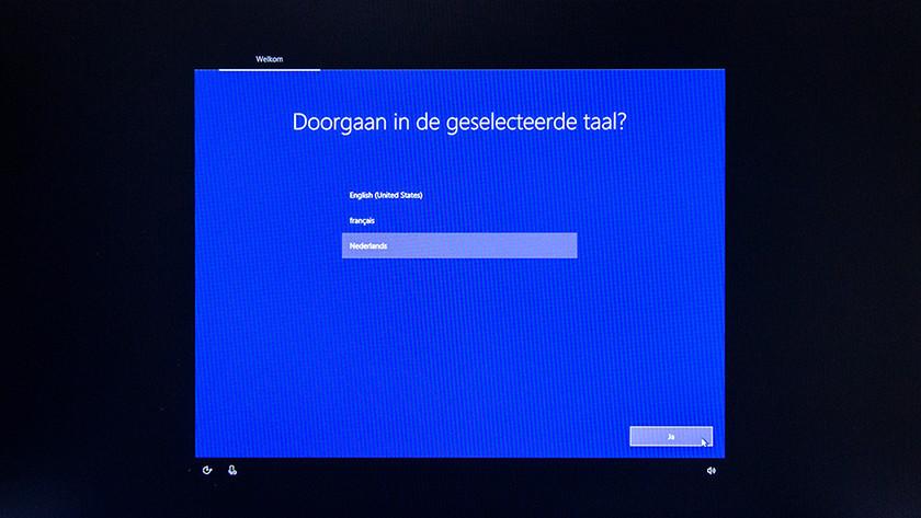 Begin van de Windows setup.