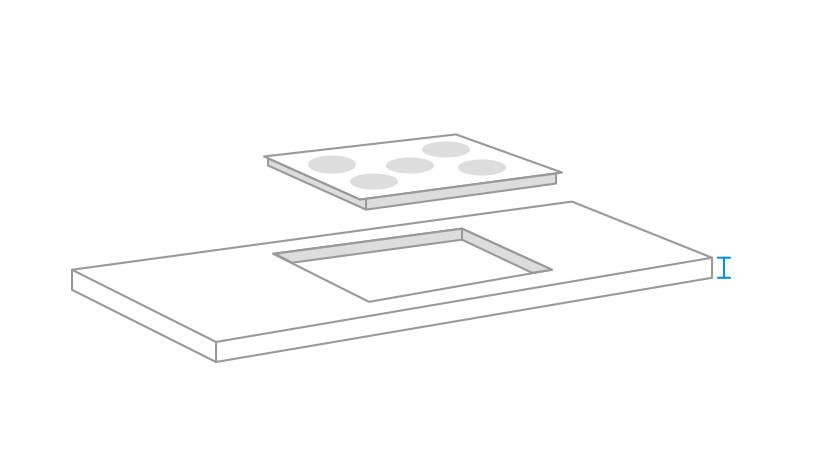 mesurer l'épaisseur du plan de travail pour la plaque de cuisson