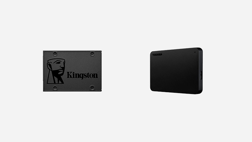 Kingston SSD en Toshiba harde schijf.