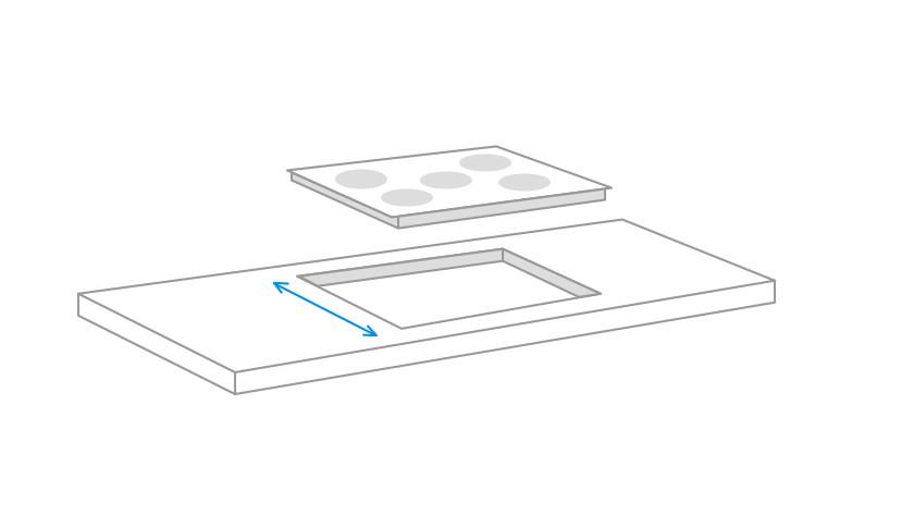 mesurer la profondeur de la niche d'encastrement pour la plaque de cuisson