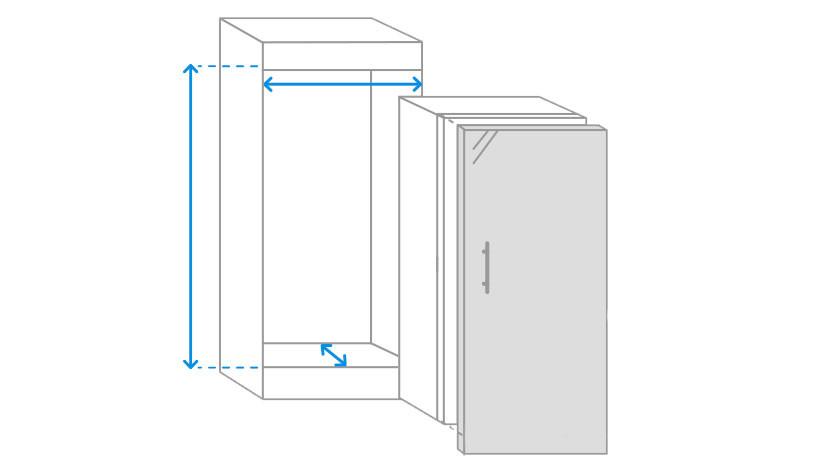 Most important dimensions 1-door fridges