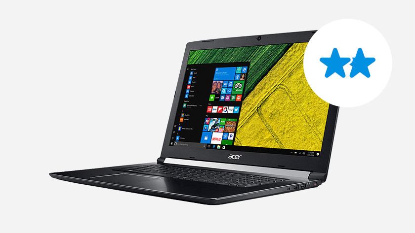 Acer laptop with two stars.