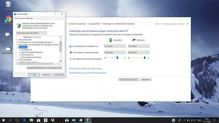 Plan settings on a Windows 10 laptop.