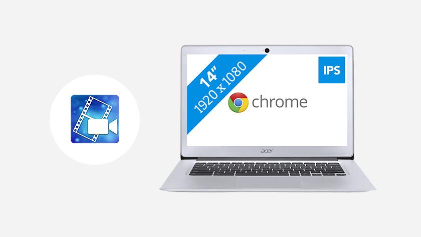 Acer Chromebook met PowerDirector icoon.