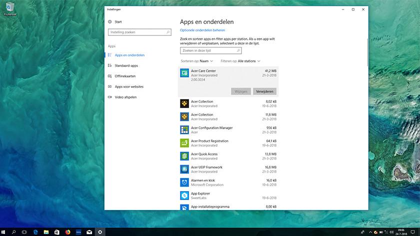 Acer bloatware verwijderscherm Windows