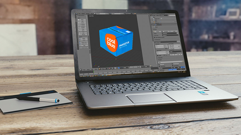 3D objecten renderen met een laptop.