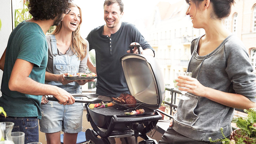 Electric barbecue on a balcony