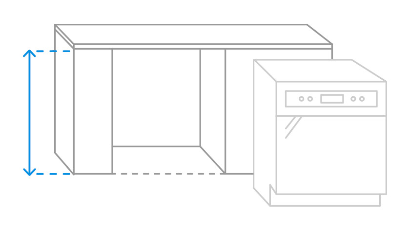 Visual measuring niche height dishwasher