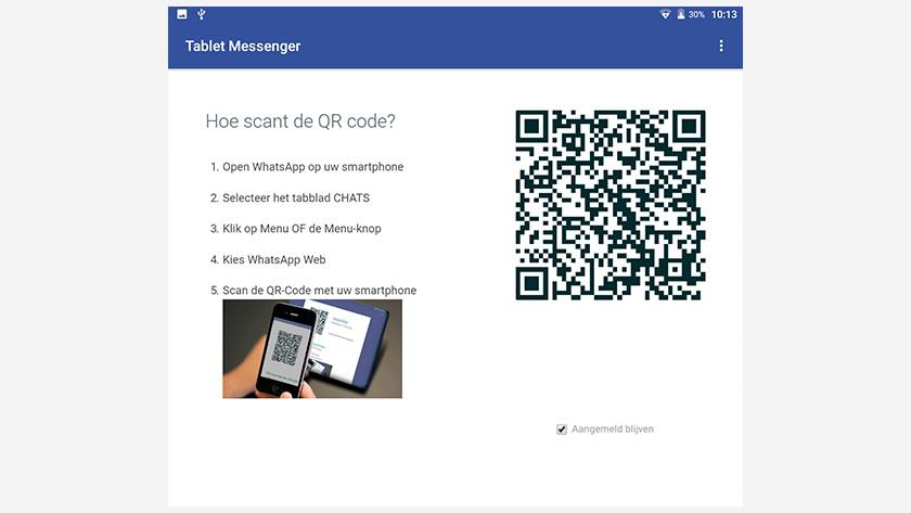tablet messenger QR code