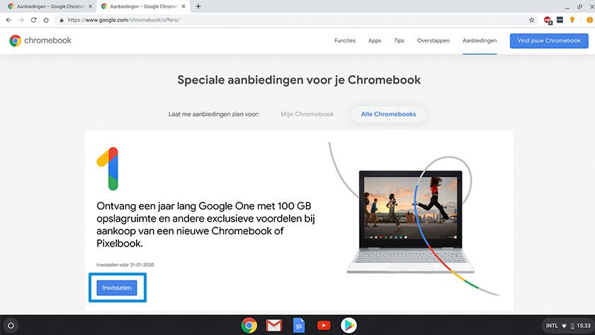 Actie pagina Chromebook 100 gigabyte opslag Google Drive