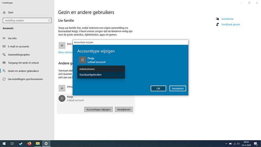 Change account type in Windows 10.