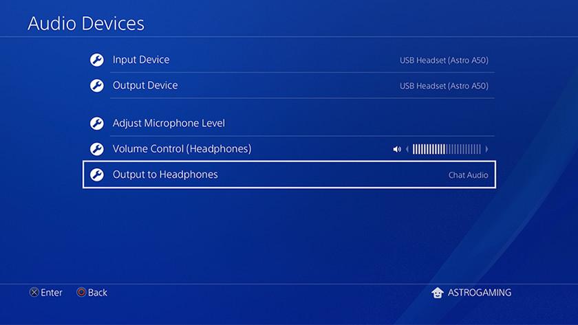 PlayStation 4 audio Menu