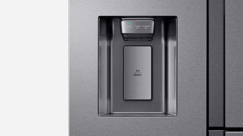 American fridge with ice cubes