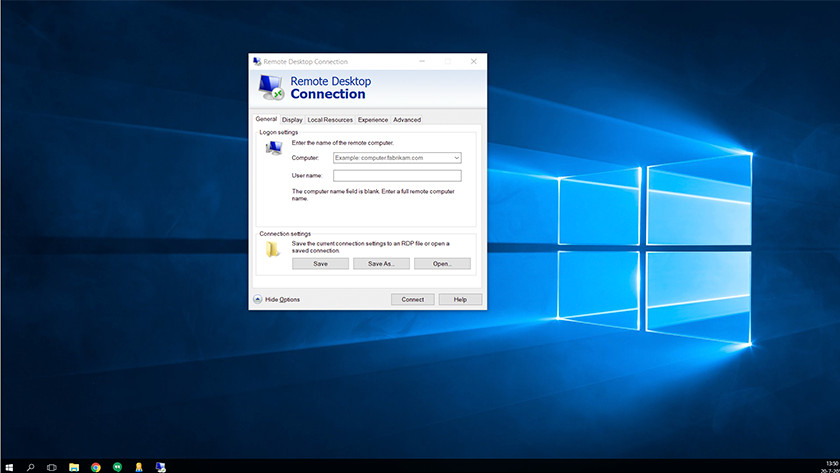 Connect to Remote Desktop on Windows.