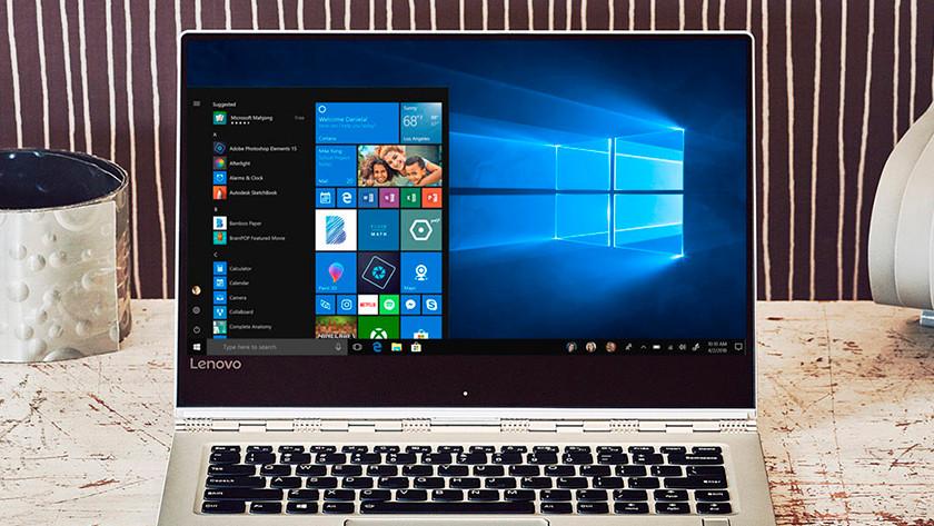 Menu de démarrage Windows 10 sur un ordinateur portable Lenovo.