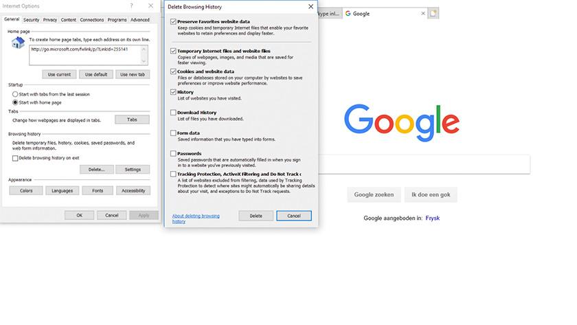 Internet Explorer zoekgeschiedenis wissen.