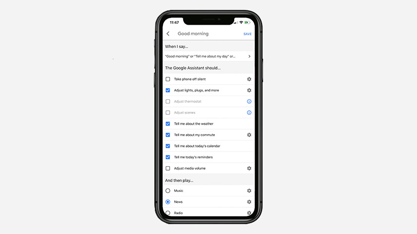 Routines in de Google Home app