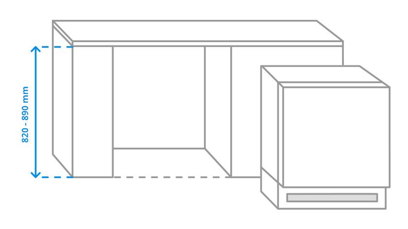 De maten van een onderbouw koelkast/diepvriezer