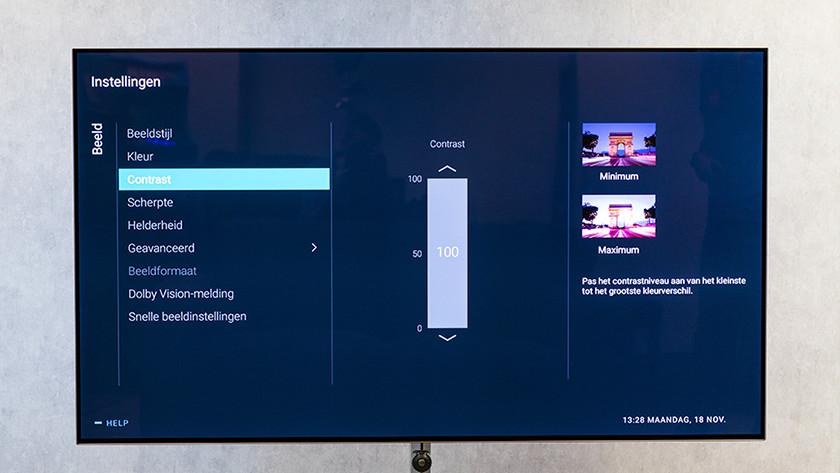 Contrast tv instellen