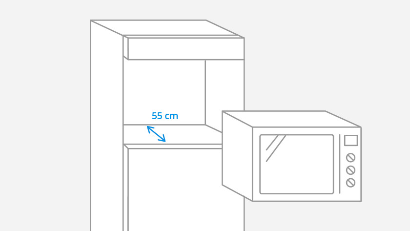 Standard depth built-in microwave