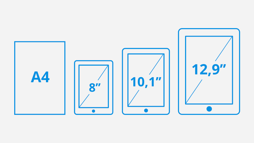 Diagonale de l'écran tablettes 8, 10,1 et 12,9 pouces