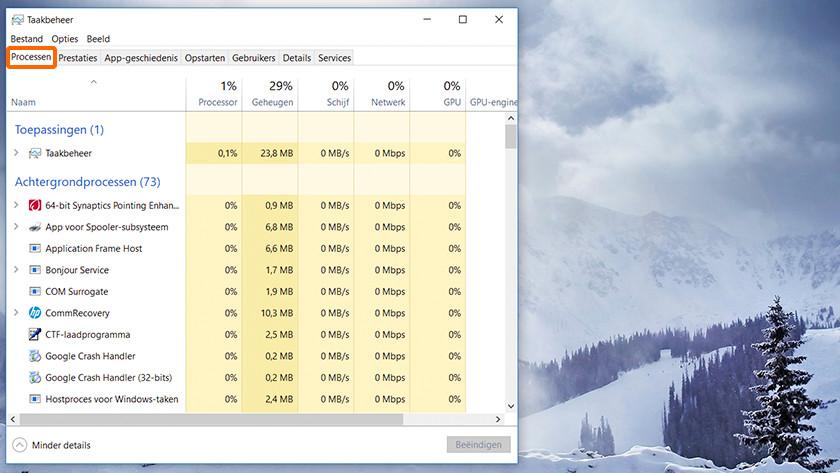 Taakbeheer op een Windows computer