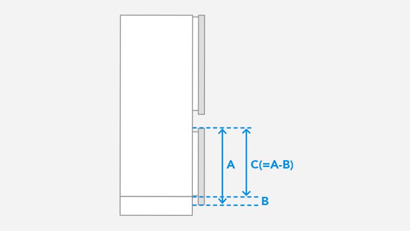Mesurer le panneau de porte inférieur du réfrigérateur