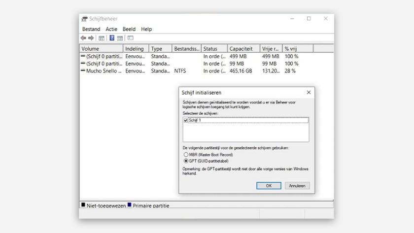 Initialize Windows SSD hard drive