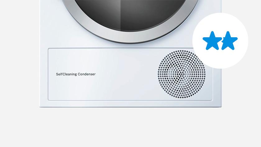 Self-cleaning condenser dryer