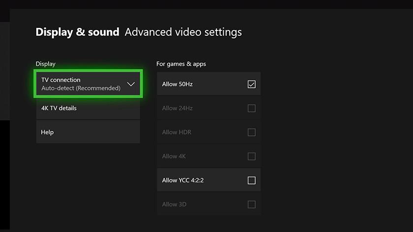 Paramètres vidéo Xbox One X