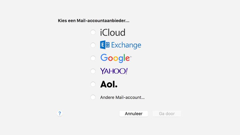 Apple Mail account aanbieder