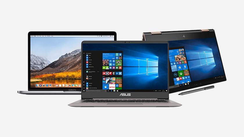 Ordinateur portable MacBook, Asus et HP.